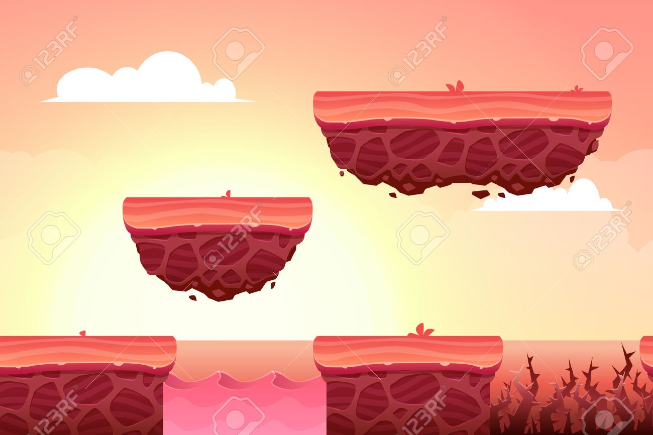 Game Background made from seamless endless elements. Vector assets and layers for mobile games - 50580576