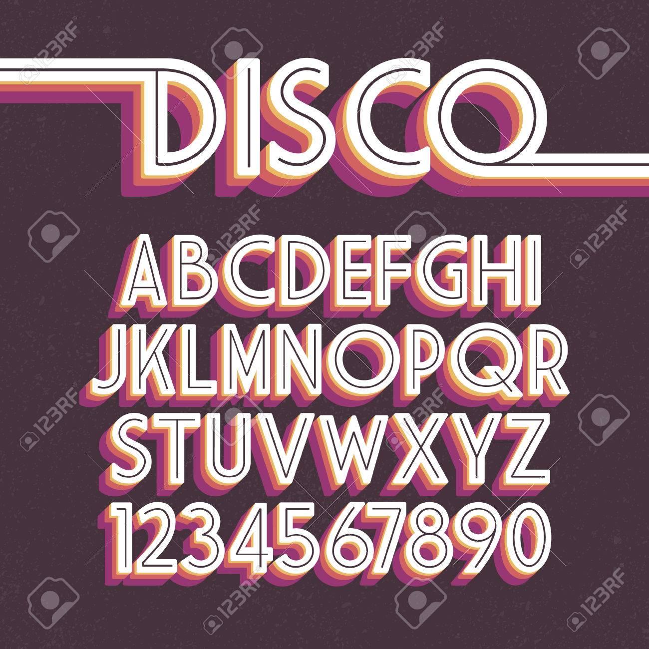80's Retro Font. disco alphabet - 57913968