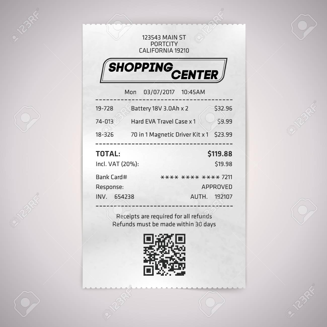 realistic paper shop qr receipt vector cashier bill on white