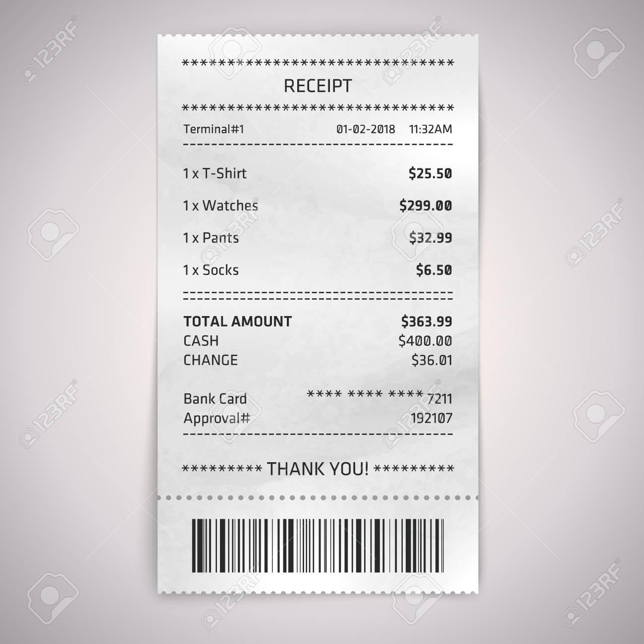 realistic paper shop receipt with bar code vector shop terminal