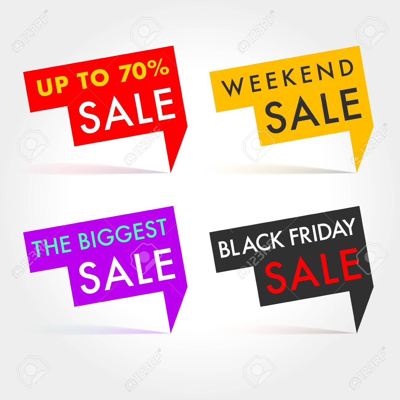 Seasonal Sale Vector labels. Winter, Spring, Summer and Autumn tags Up to, Weekend, Biggest and Black Fridat Sale tags - 134194644