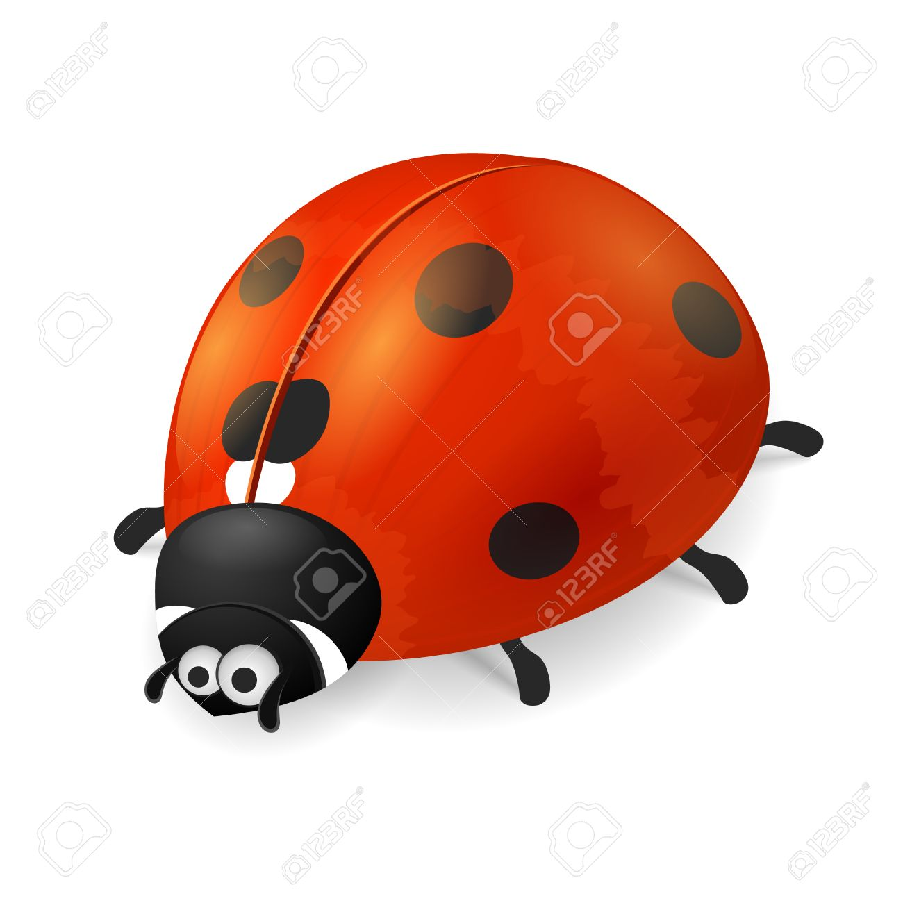 ladybird on white background cute cartoon ladybug icon royalty
