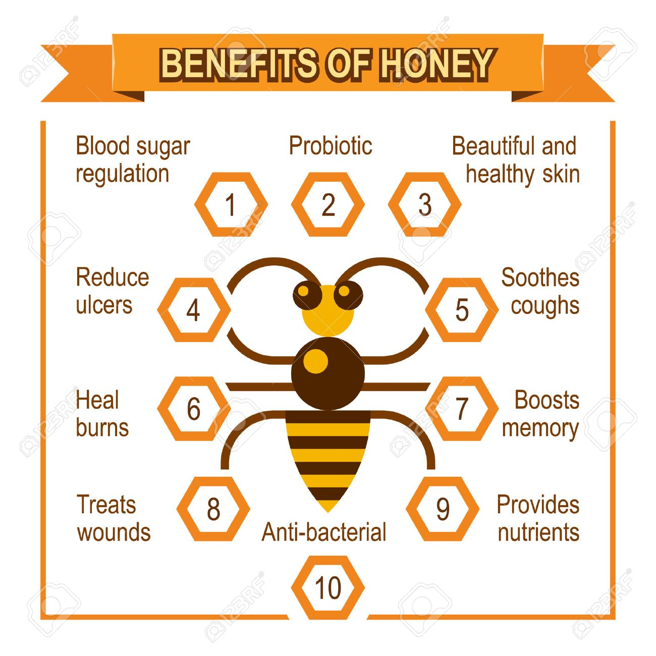 infographic placard about benefits of honey. honey bee give a..
