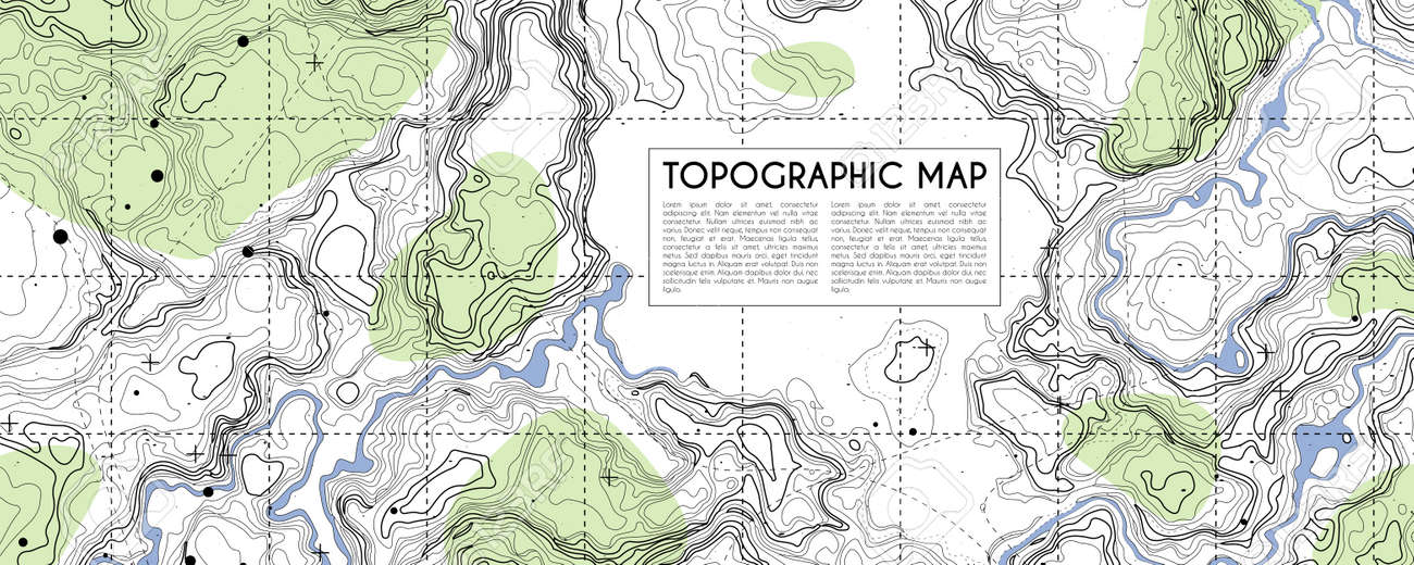 Abstract topographic map background. Topo backdrop lines, contour, geographic grid. Vector illustration with place for text - 149734829
