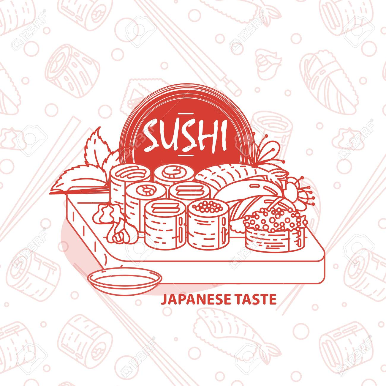 Sushi. Japanese food. Rolls with fish and caviar on eco plate, chopsticks, ginger and soy sauce. Delicious vector illustration for restaurant and bar menu, booklets or prints - 150659911