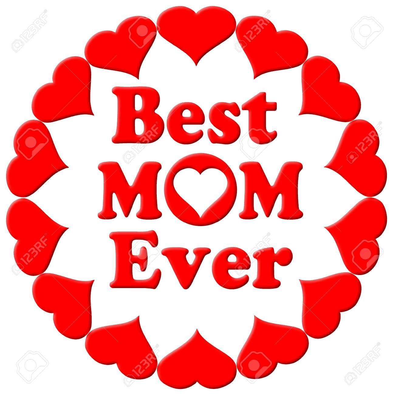 Ilustración Tipográfica Feliz Día De La Madre En 3d Con Corazones La Mejor Tarjeta De Regalo Para Mamá En Rojo