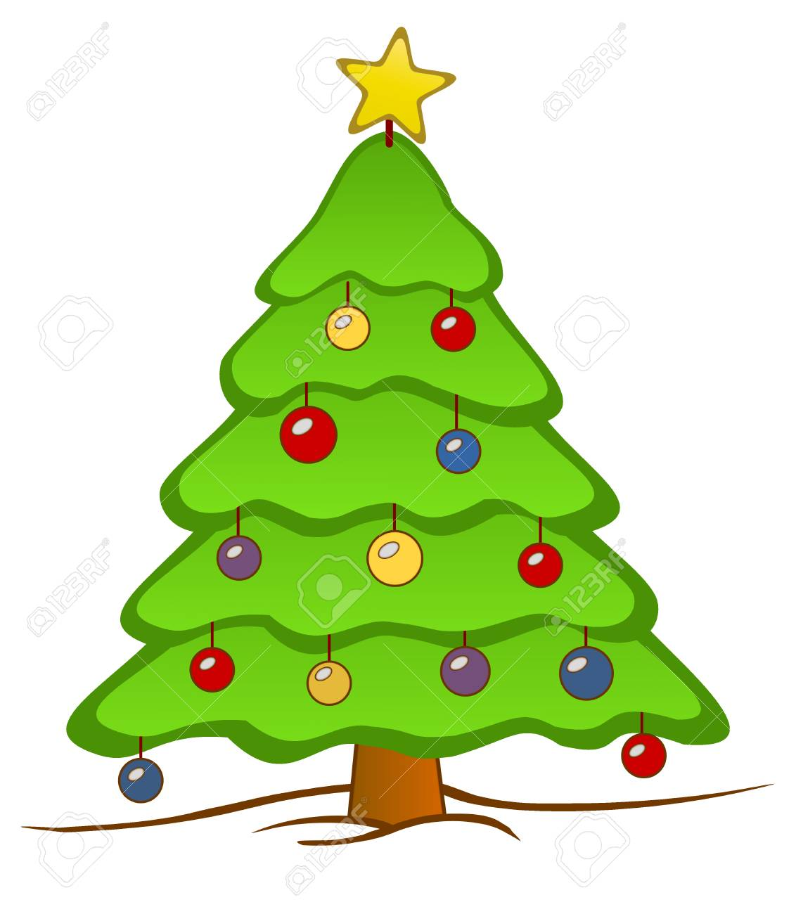 An Isolated Christmas Tree With A Star On Top And Colorful