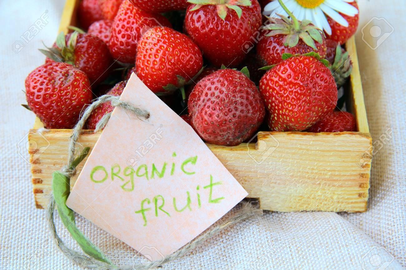fresh ripe organic strawberries in a wooden box Stock Photo - 9667386