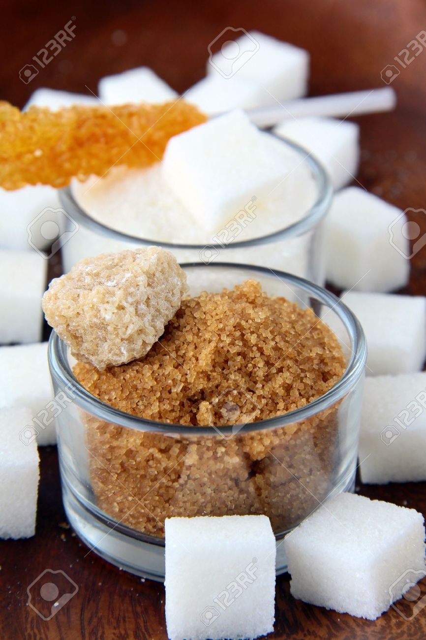 Several Types Of Sugar Refined Sugar Brown Sugar And Granulated Stock Photo Picture And Royalty Free Image Image 10796971