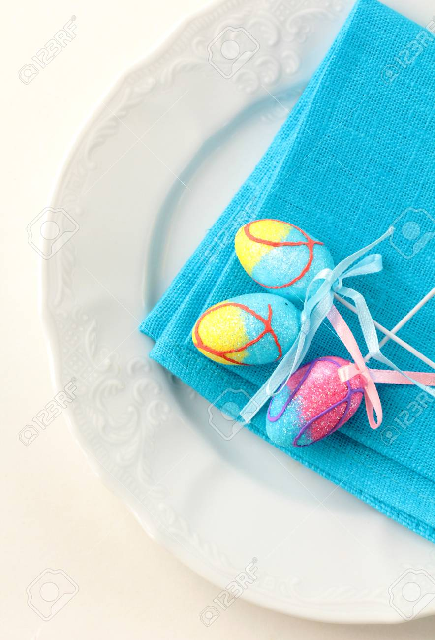 Place setting for Easter elegant and blue Stock Photo - 11919900