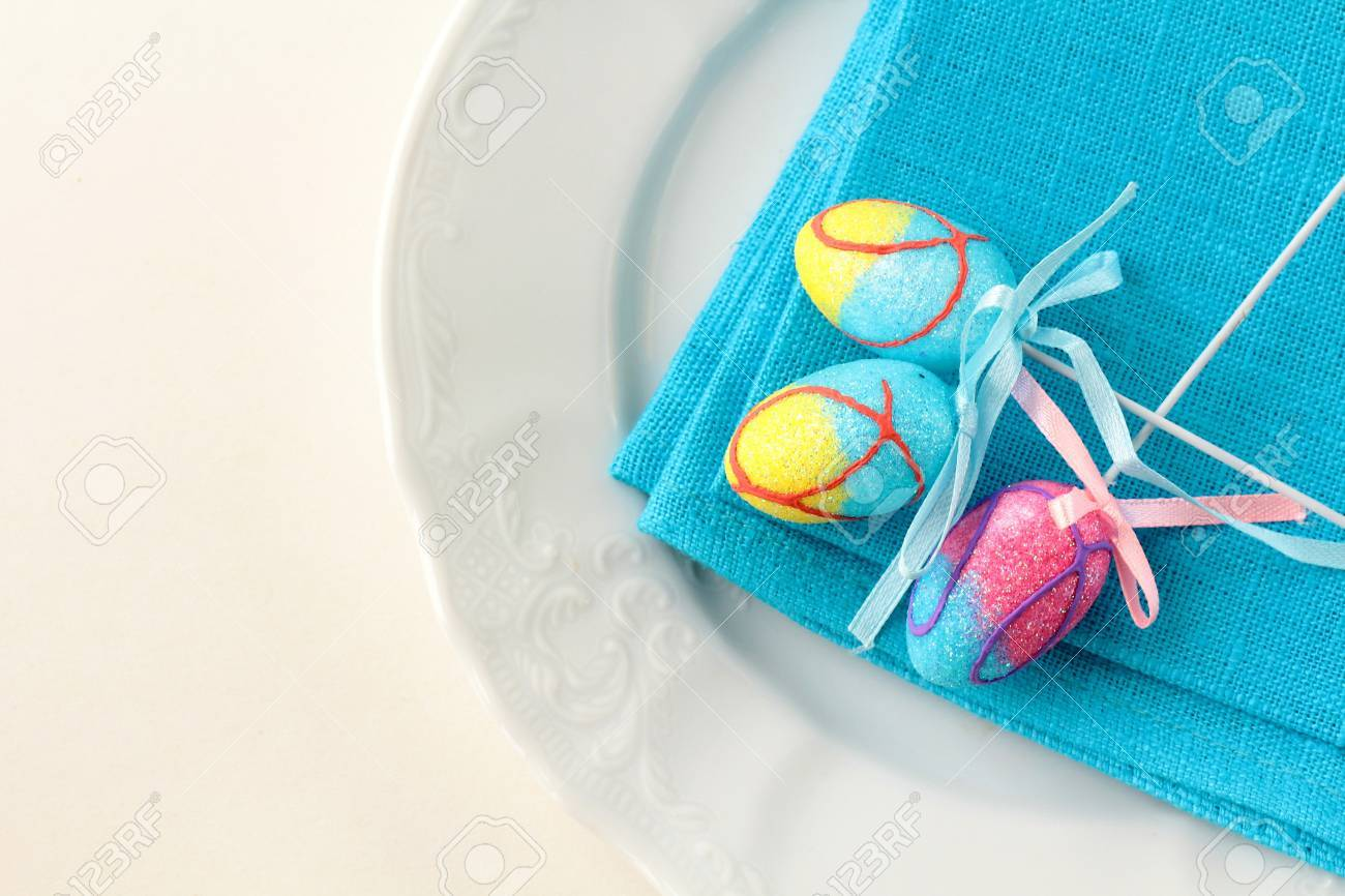 Place setting for Easter elegant and blue Stock Photo - 11958615