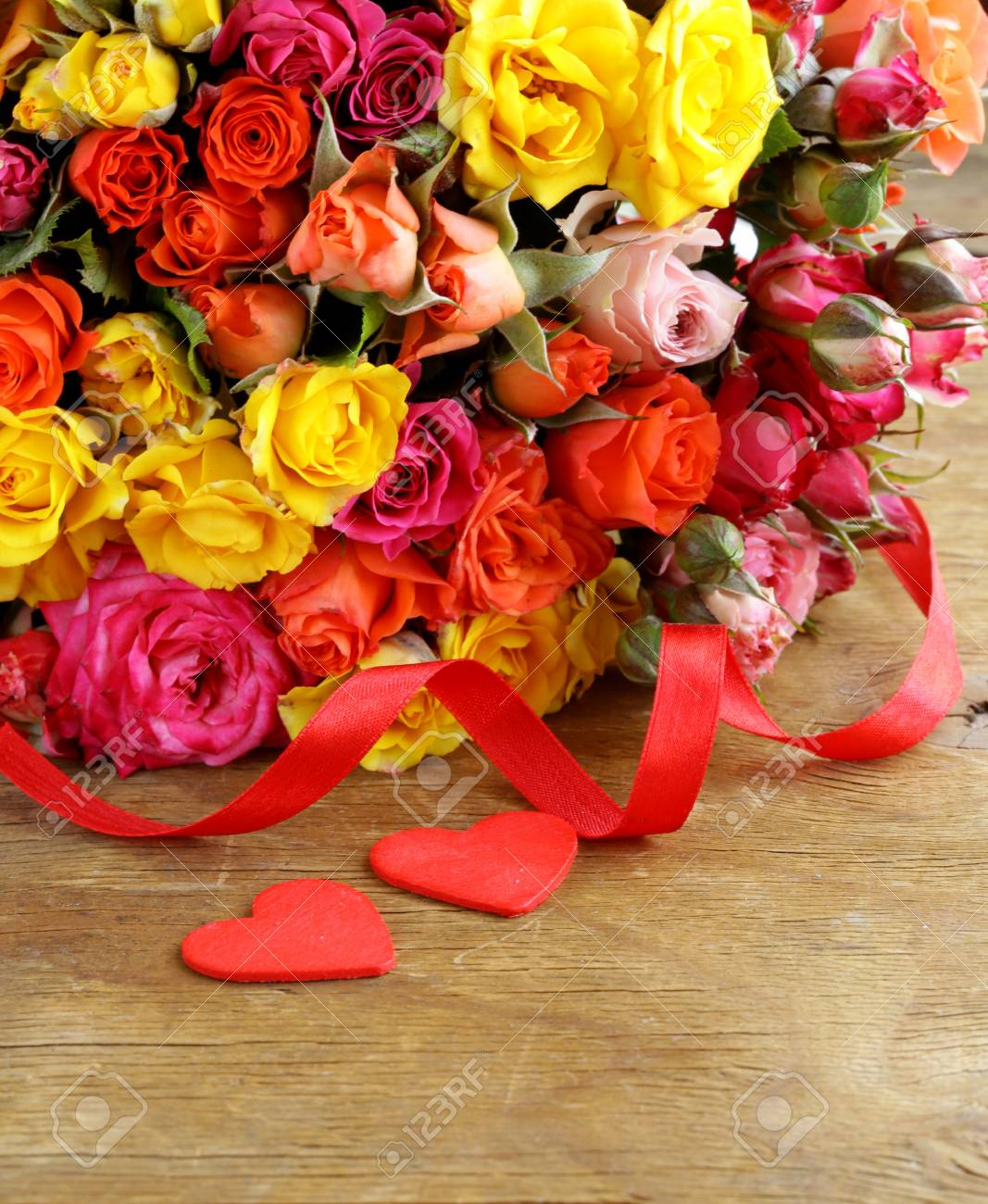 Different Color Roses Yellow, Red, Pink May Be Used As The.. Stock ...