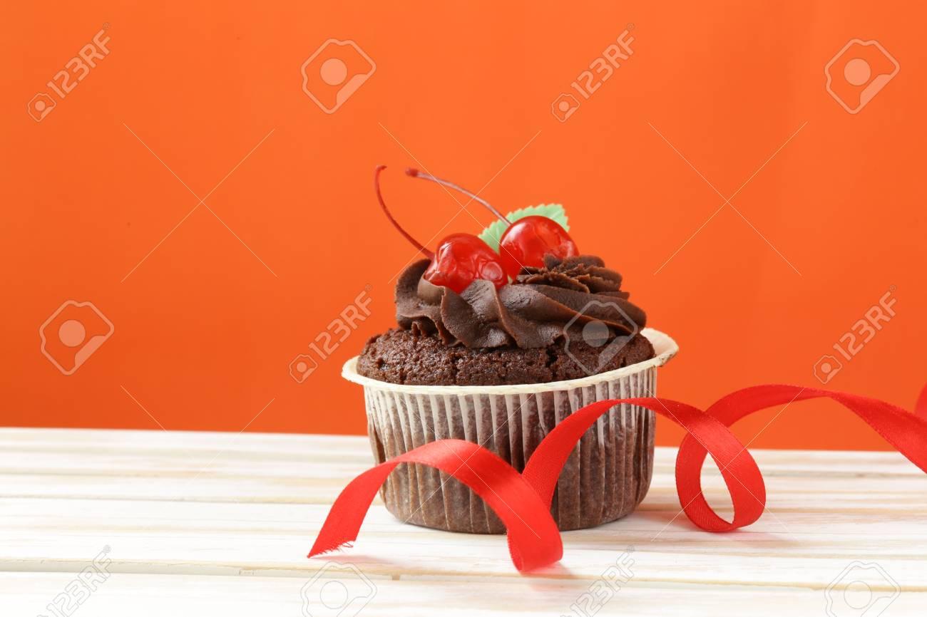 Festivo Cumpleaños Día De San Valentín Magdalena De Chocolate