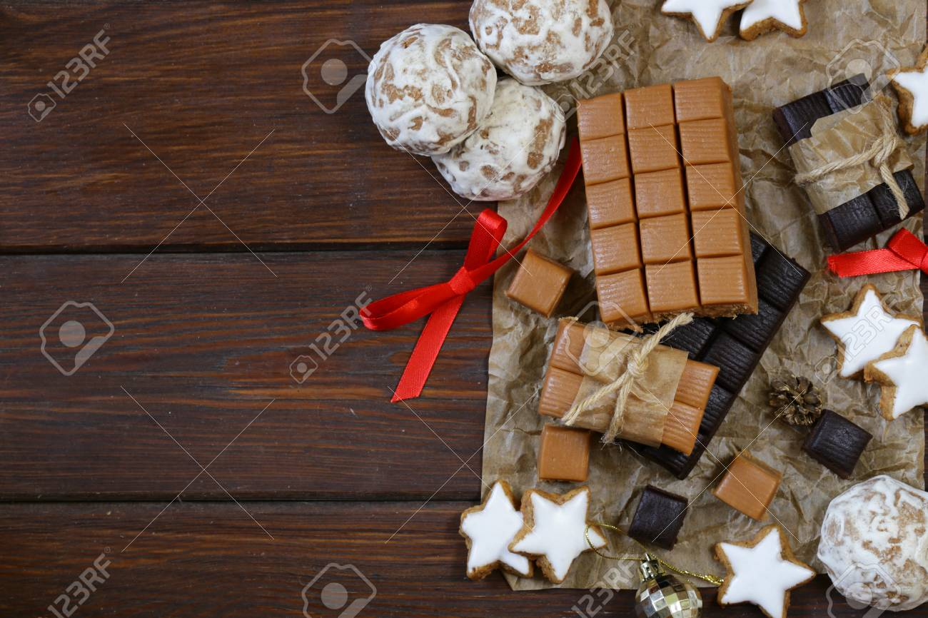Stock Photo - toffee, gingerbread and cookies for Christmas gifts
