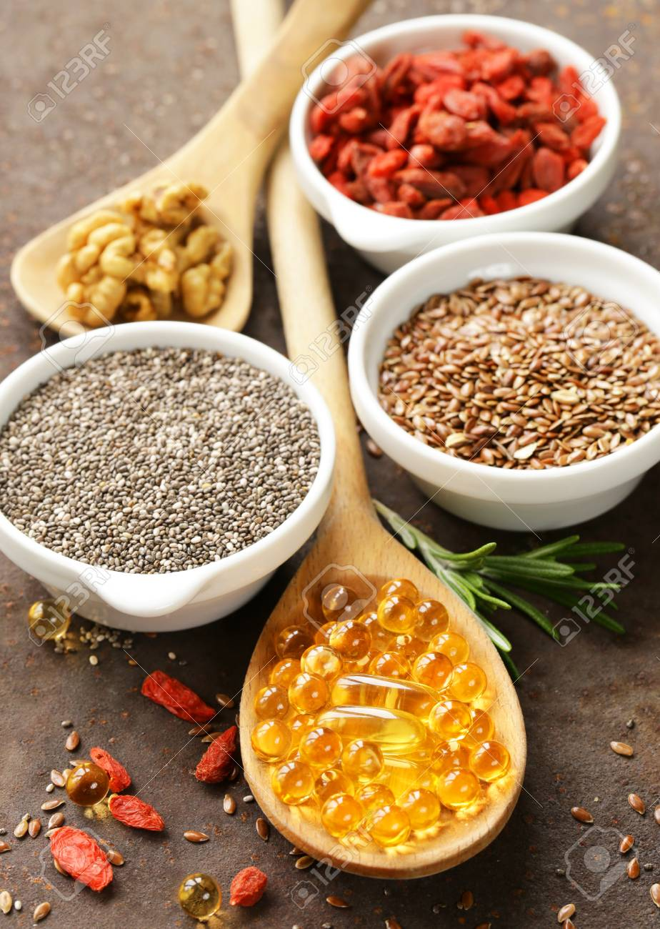 Super Food Goji Berries Chia Seeds Flax Seeds Walnuts And