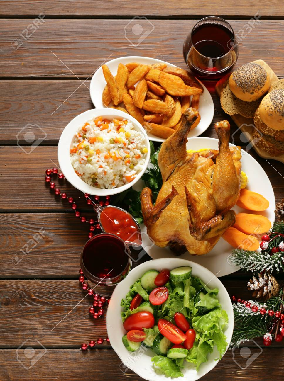 Stock Photo - traditional food for Christmas dinner festive table setting and decorations & Traditional Food For Christmas Dinner Festive Table Setting.. Stock ...
