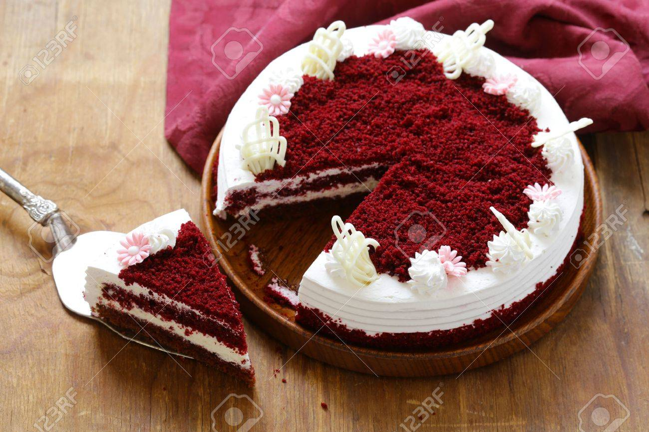 Festive Dessert Christmas Red Velvet Cake Stock Photo Picture And Royalty Free Image Image 64415733