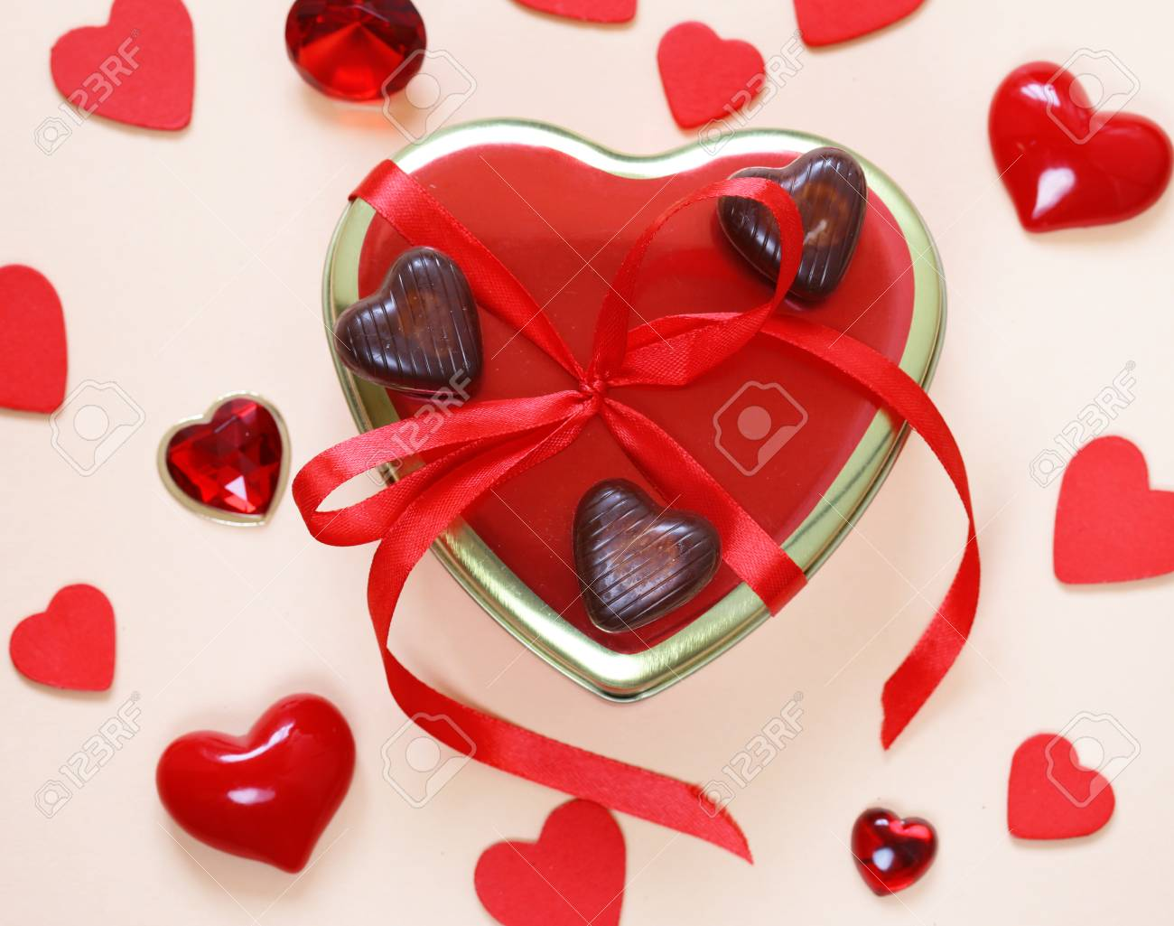 Romantic Symbols Of Hearts And Chocolate Candy Valentine S Day Stock