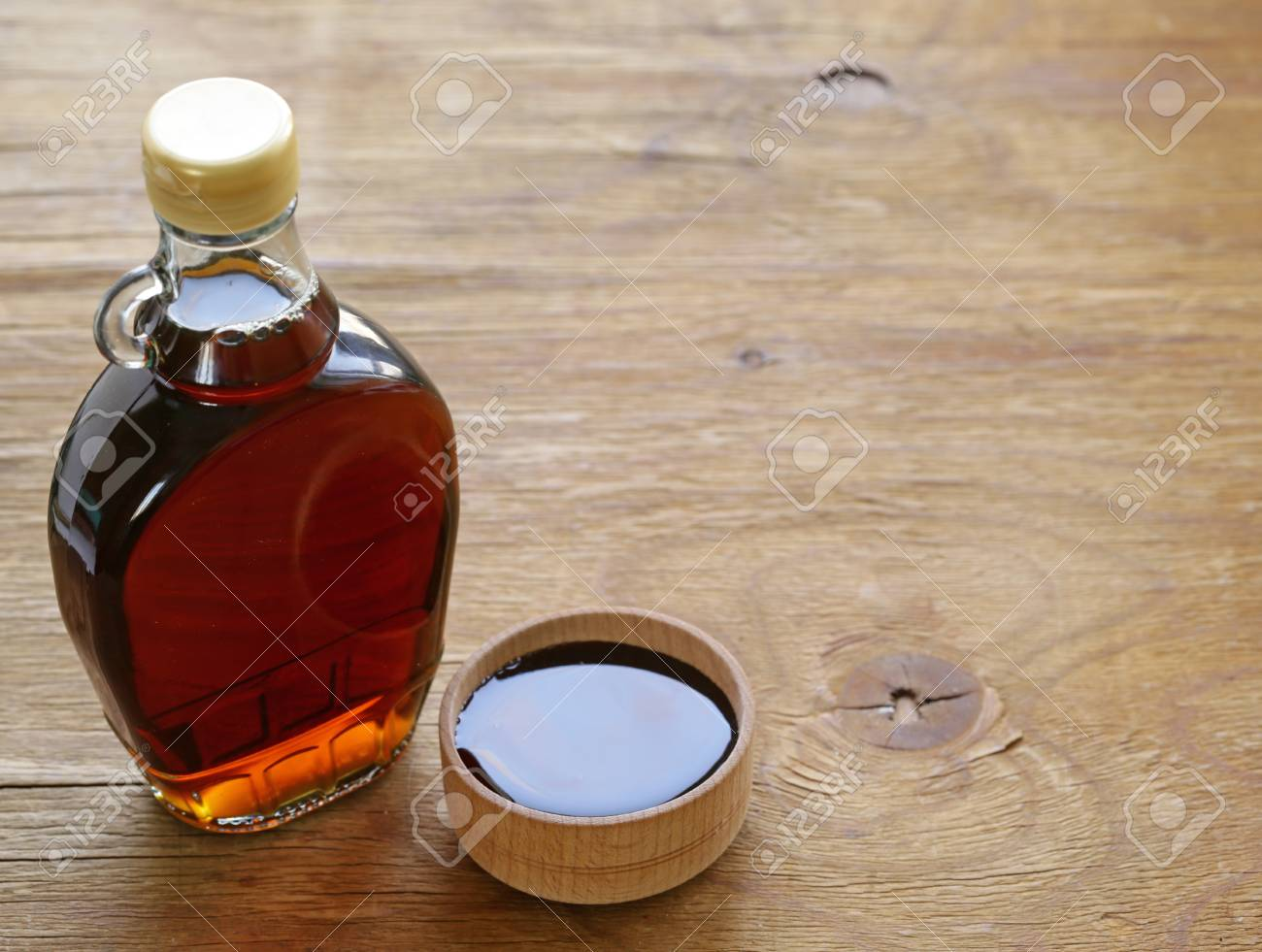 059e11a2a29 Maple syrup in a glass bottle - sweet dessert sauce Stock Photo - 95684414