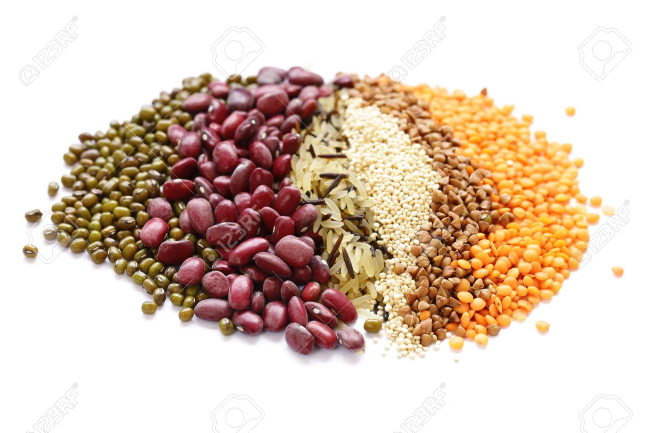 different cereals - beans, lentils, rice on a white background - 99521180