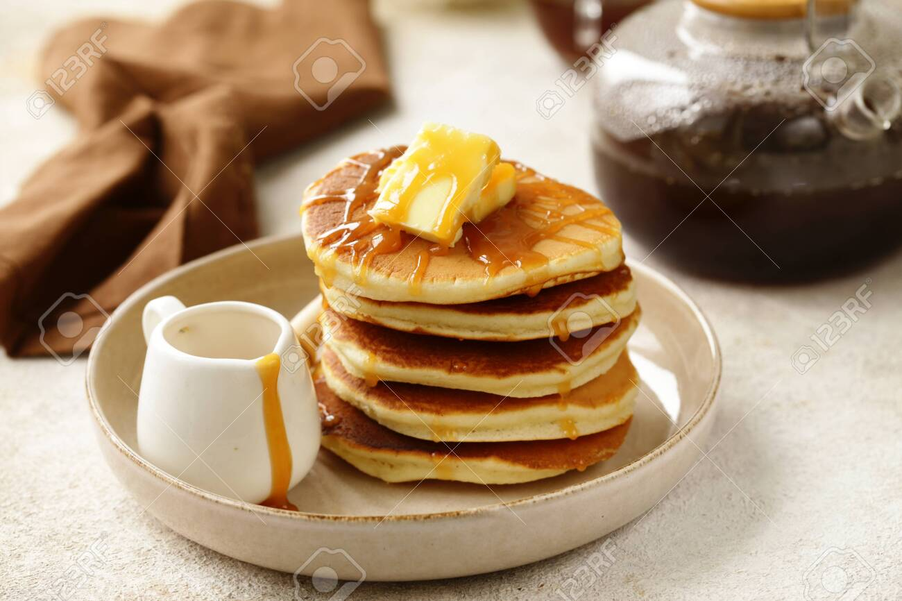 traditional american pancakes for breakfast - 138605163