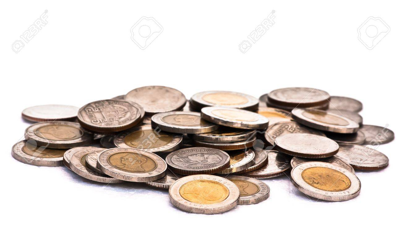 a lot of silver coins on white background Stock Photo - 11841226