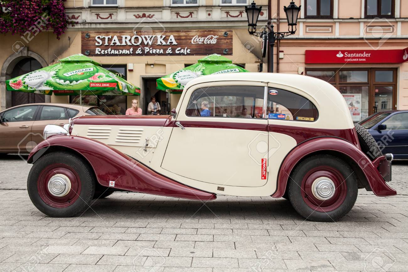 Old Car Praga, Side View, Retro Design Car. Exhibition Of Vintage ...