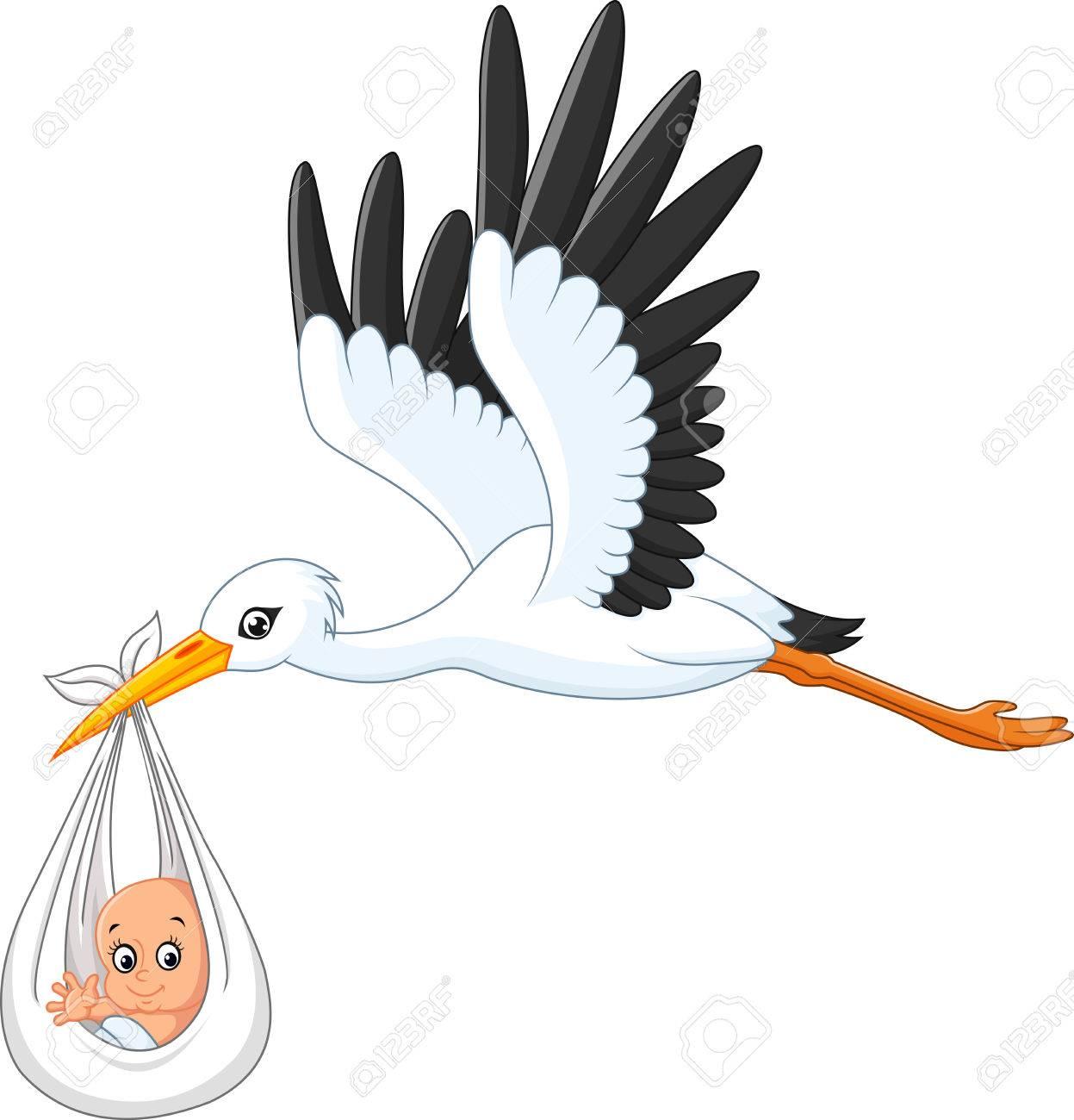 Cartoon stork carrying baby - 56878219