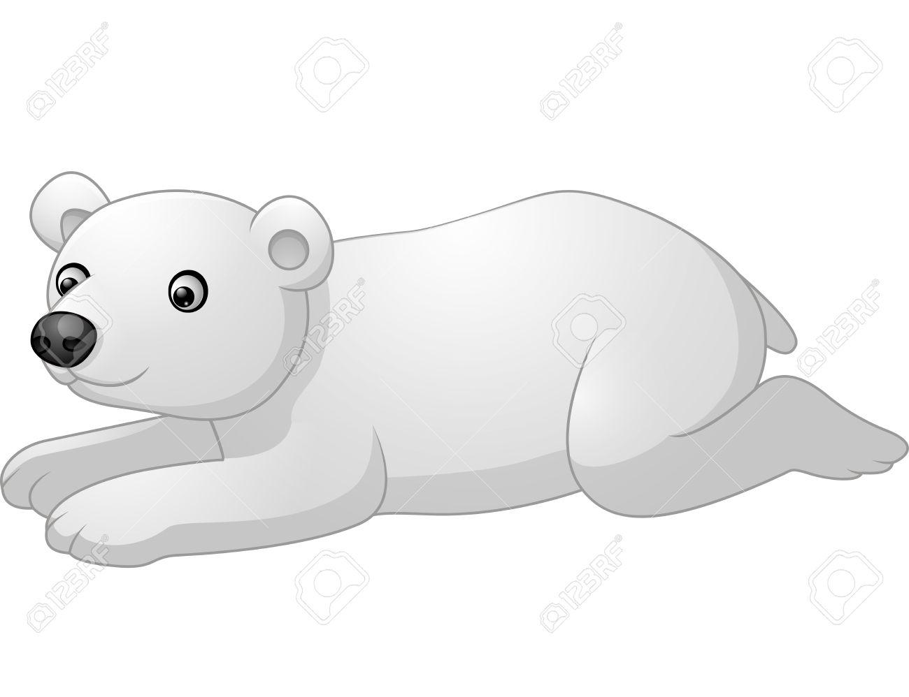Vettoriale carino polare orso cartone animato sdraiò image