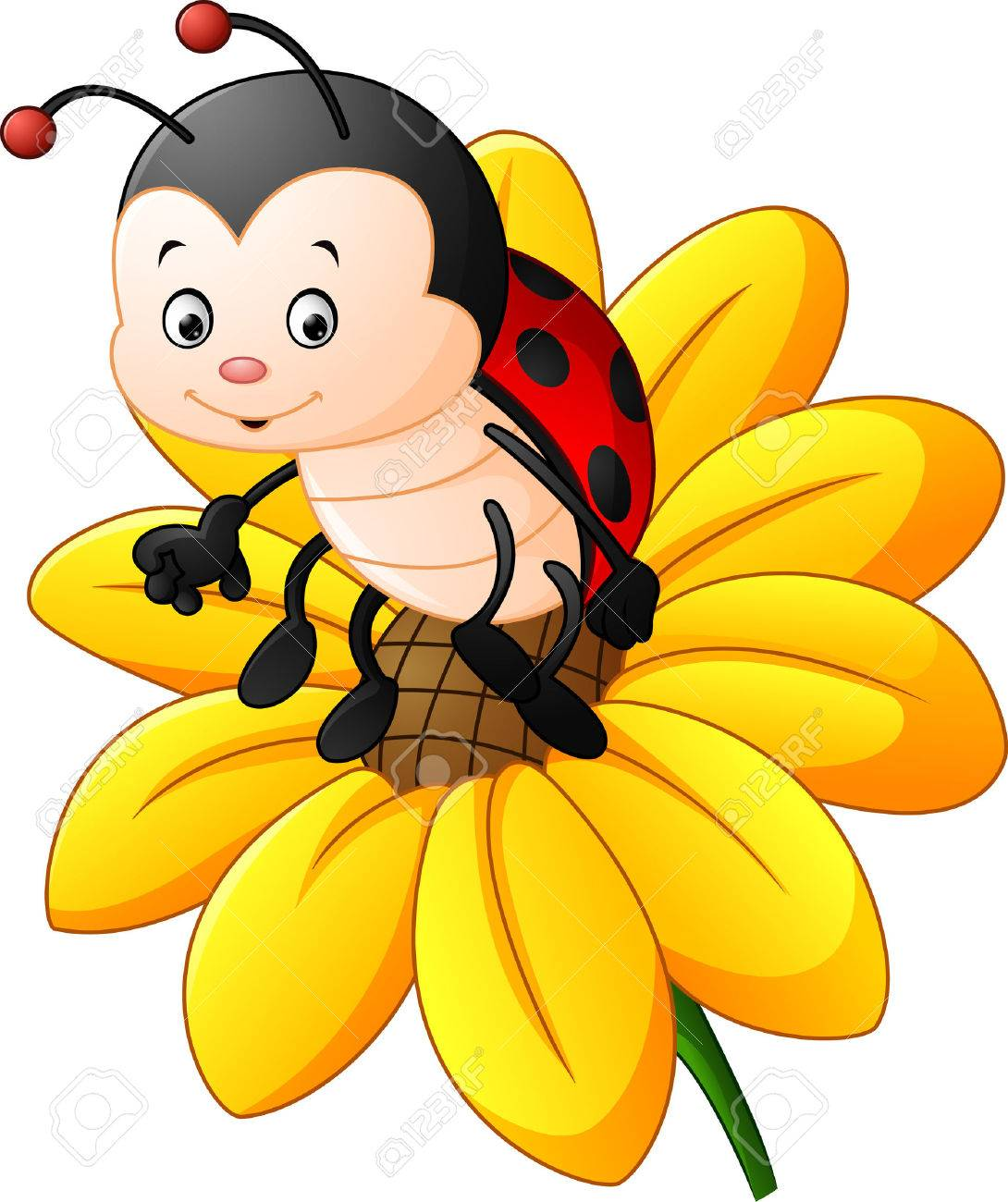 A Cartoon Ladybug cartoon ladybug on the sun flower