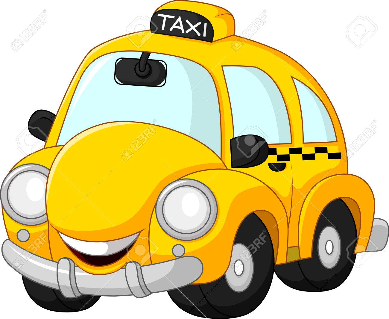 Funny taxi cartoon isolated on white background - 60069531