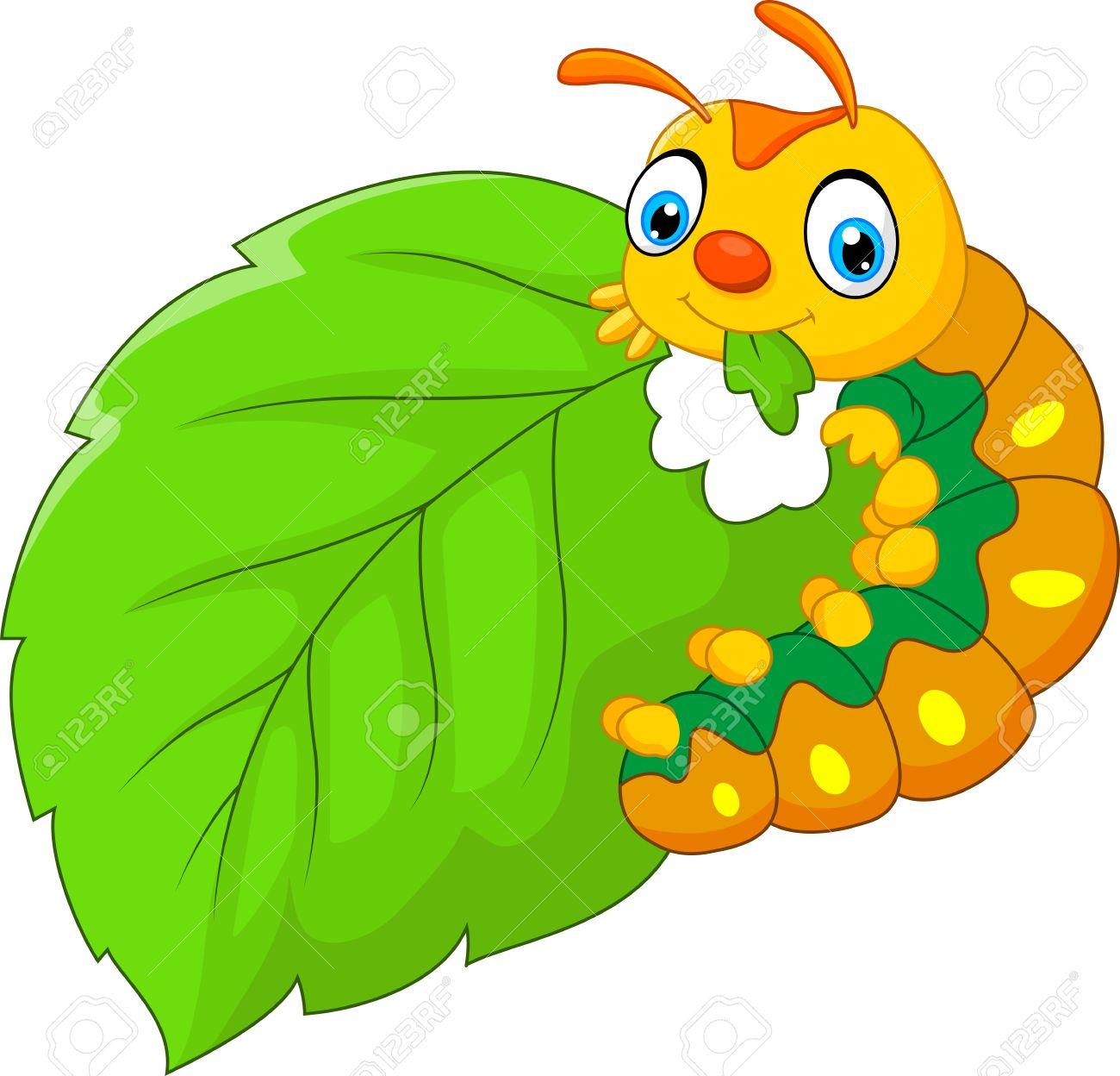 Cartoon Caterpillar Eating Leaf Royalty Free Cliparts Vectors
