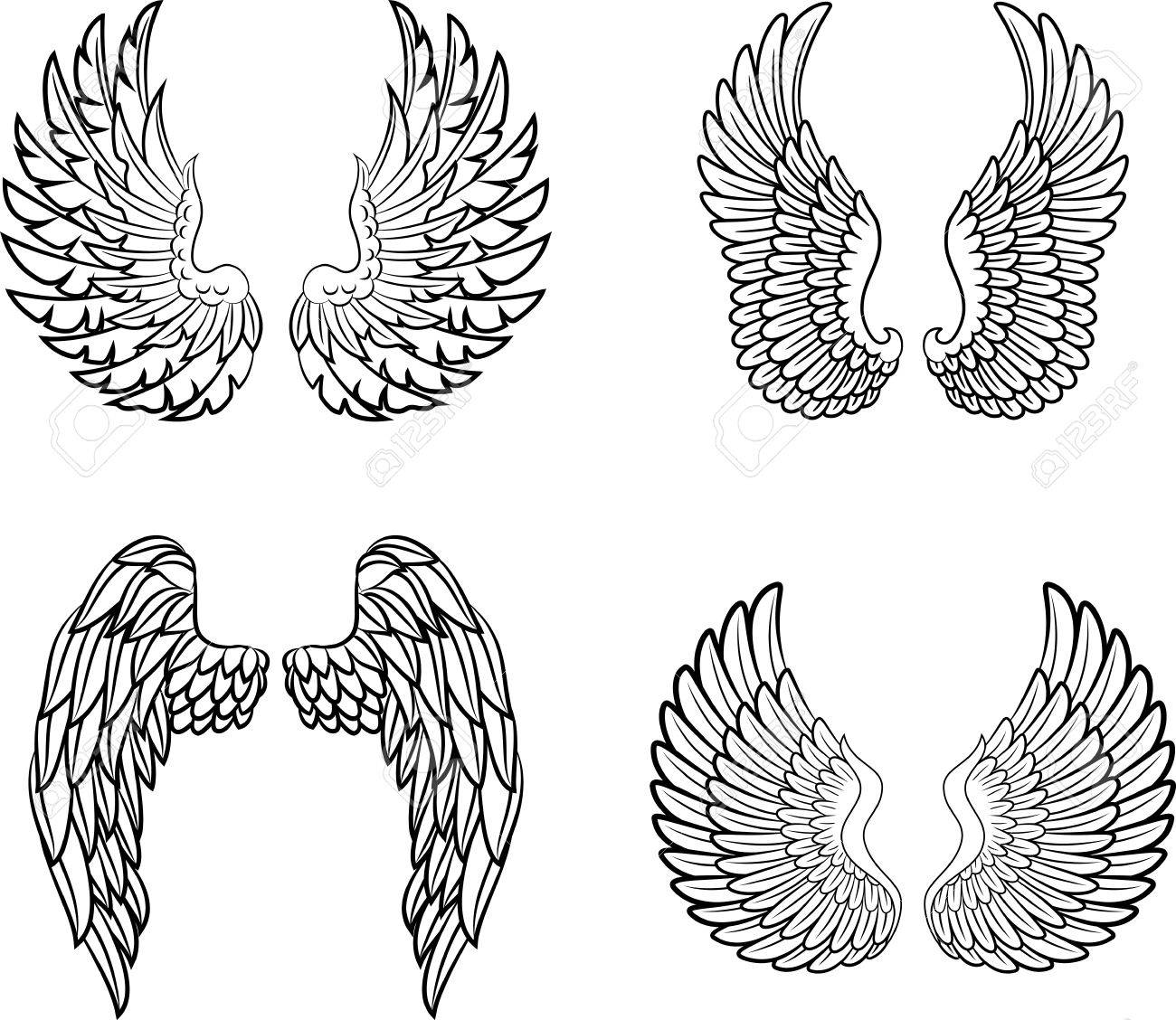 cartoon angel wings collection set royalty free cliparts vectors rh 123rf com cartoon angel wings and halo cartoon angel wings images