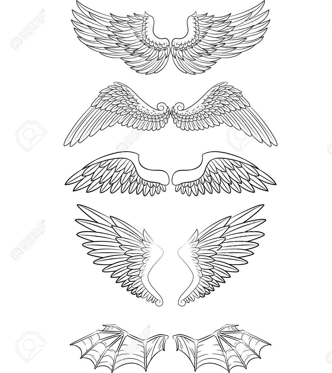 cartoon angel wings collection set royalty free cliparts vectors rh 123rf com cartoon angel wings drawing cartoon angel wings png
