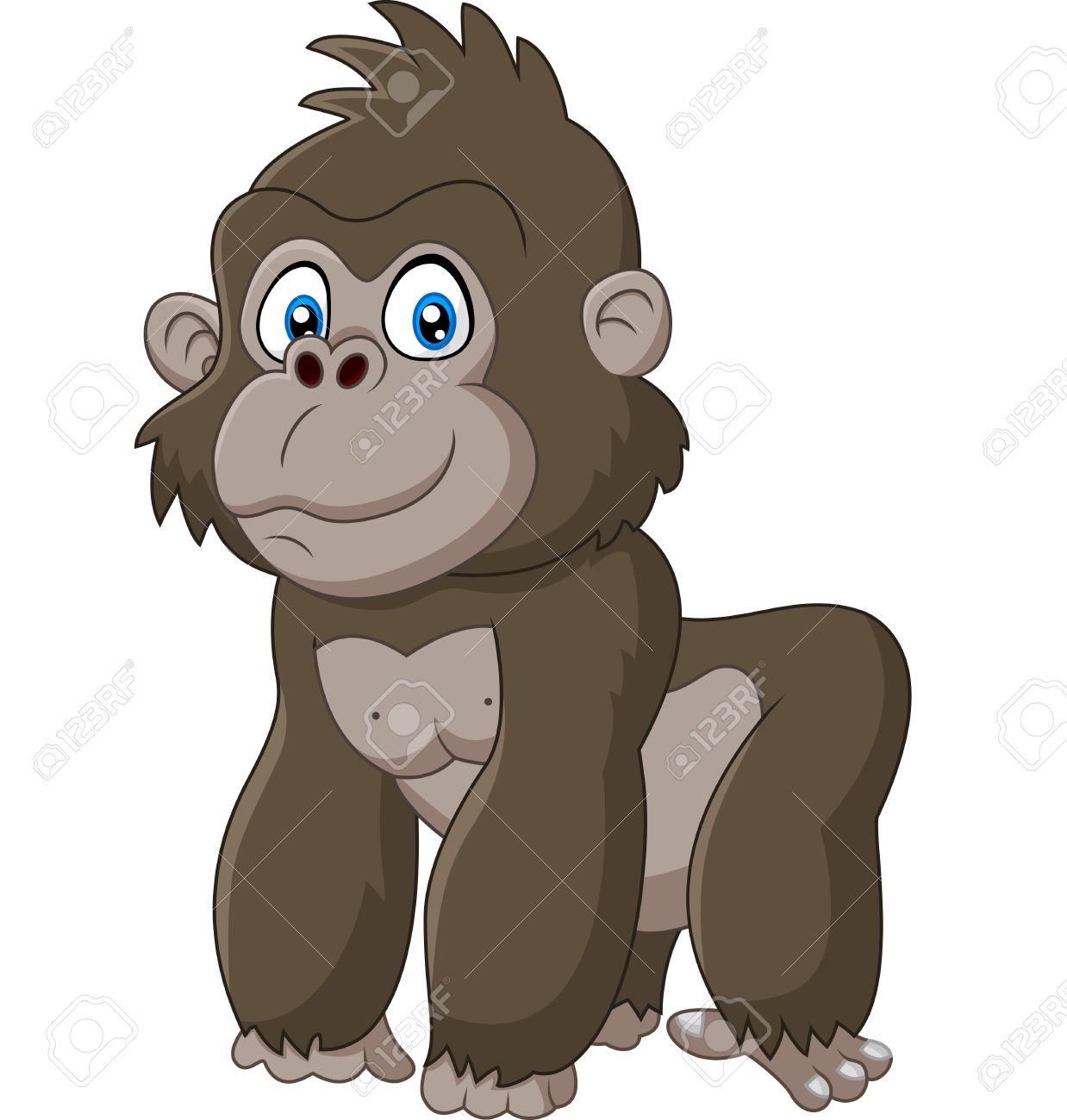 Populaire Bébé Mignon Dessin Animé Gorille Clip Art Libres De Droits  DT91