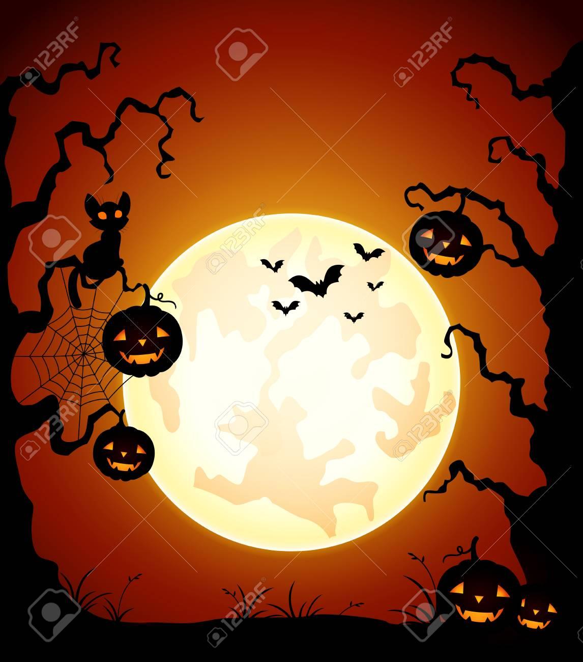 Zucca Halloween Gatto.Priorita Bassa Di Notte Di Halloween Con Zucca E Gatto Nero