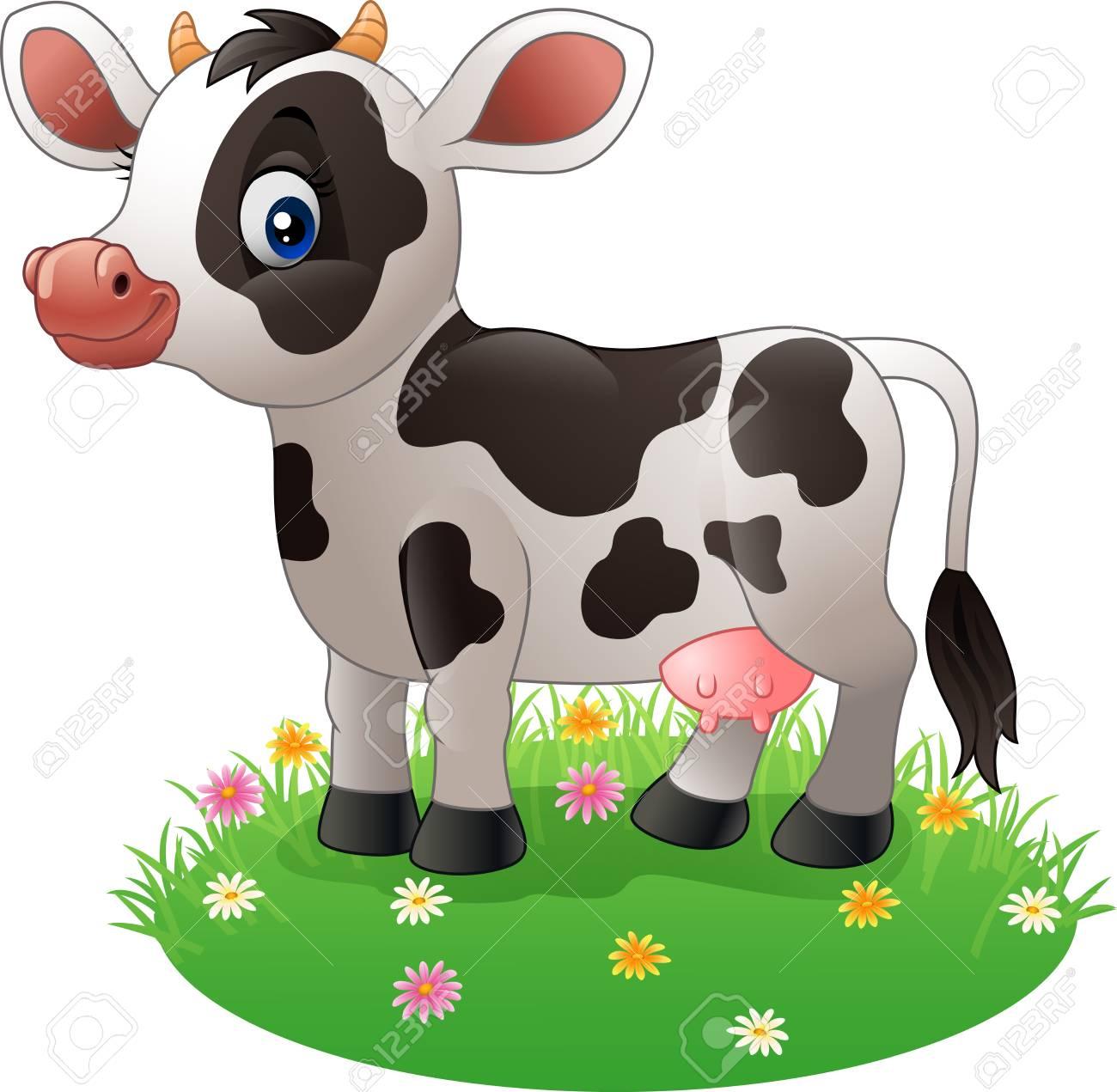 Ilustración Vectorial De Dibujos Animados De La Vaca De Pie En La
