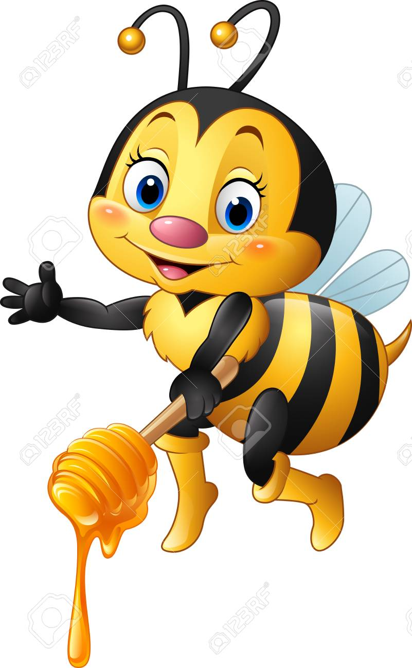 Vector Illustration Of Cartoon Bee Holding Honey Dipper Royalty Free Cliparts Vectors And Stock Illustration Image 63268960
