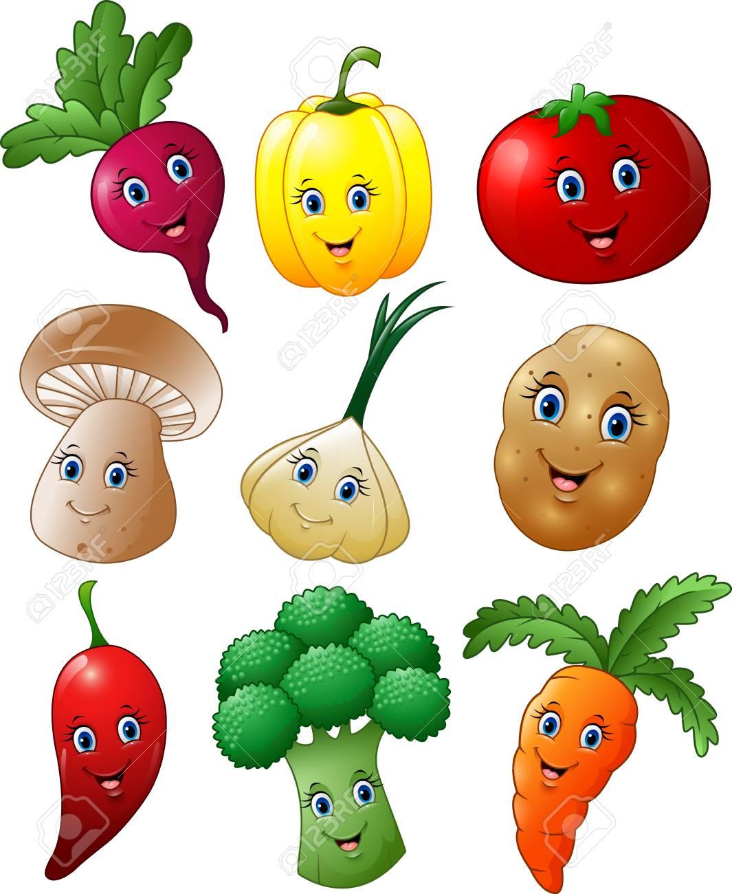 Ilustración Vectorial De Dibujos Animados Conjunto De Recopilación Verduras
