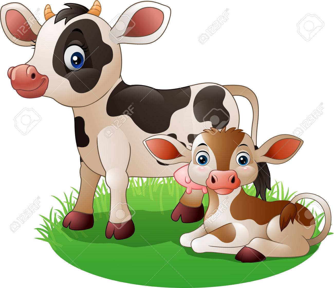 Vector Illustration Of Cartoon Cow With Newborn Calf Royalty Free ... for Cow And Calf Clipart  58lpg
