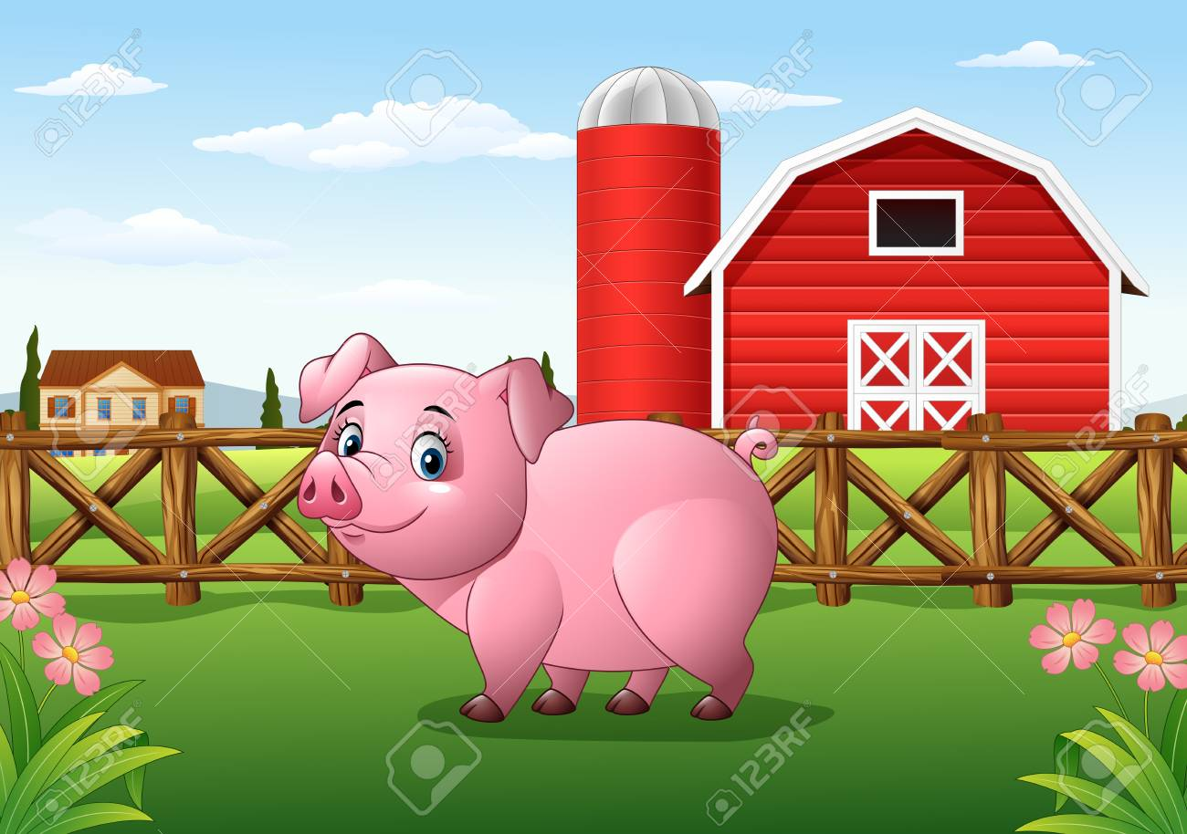 Illustration Of Cartoon Pig In The Farm Background Stock Vector