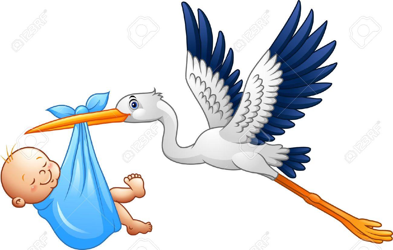 illustration of Cartoon stork with baby boy - 63713325