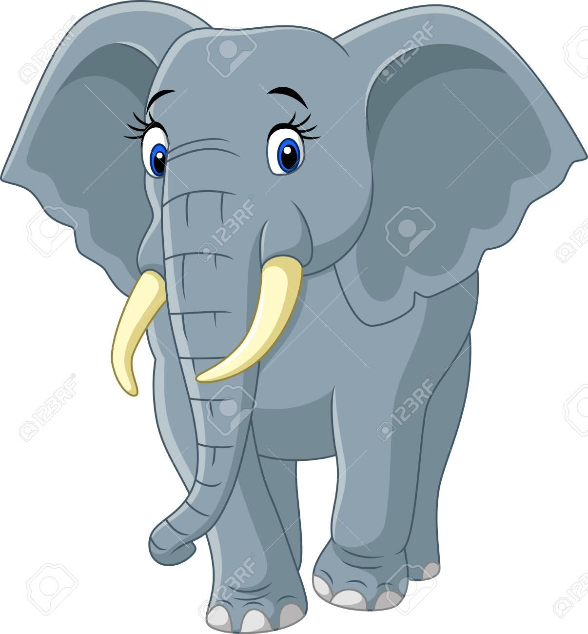 Ilustracion Vectorial De Dibujos Animados Divertido Elefante Aislado