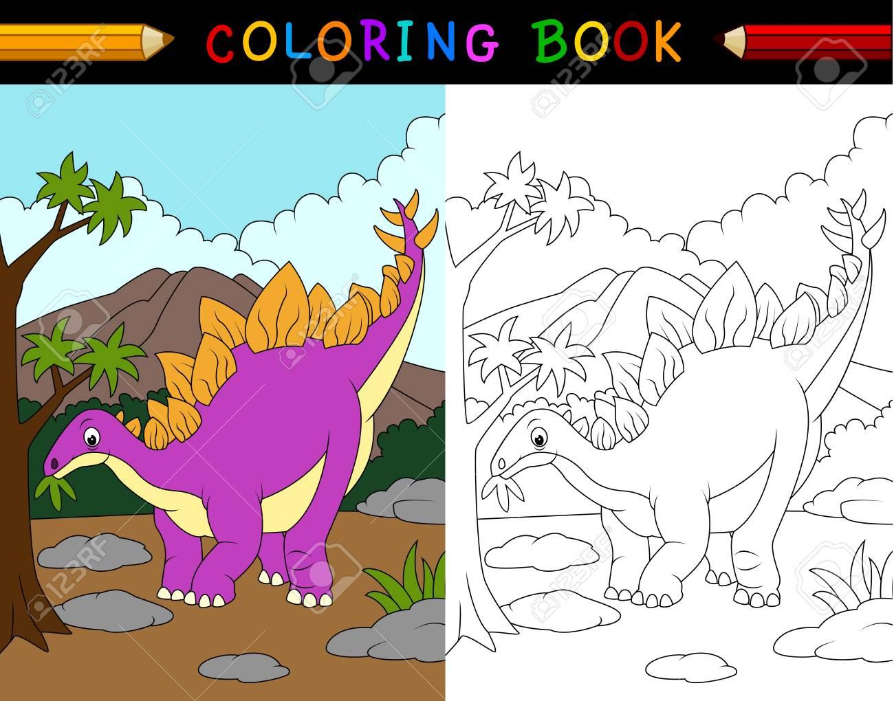 Illustration De Bande Dessinee Livre De Coloriage De Stegosaure