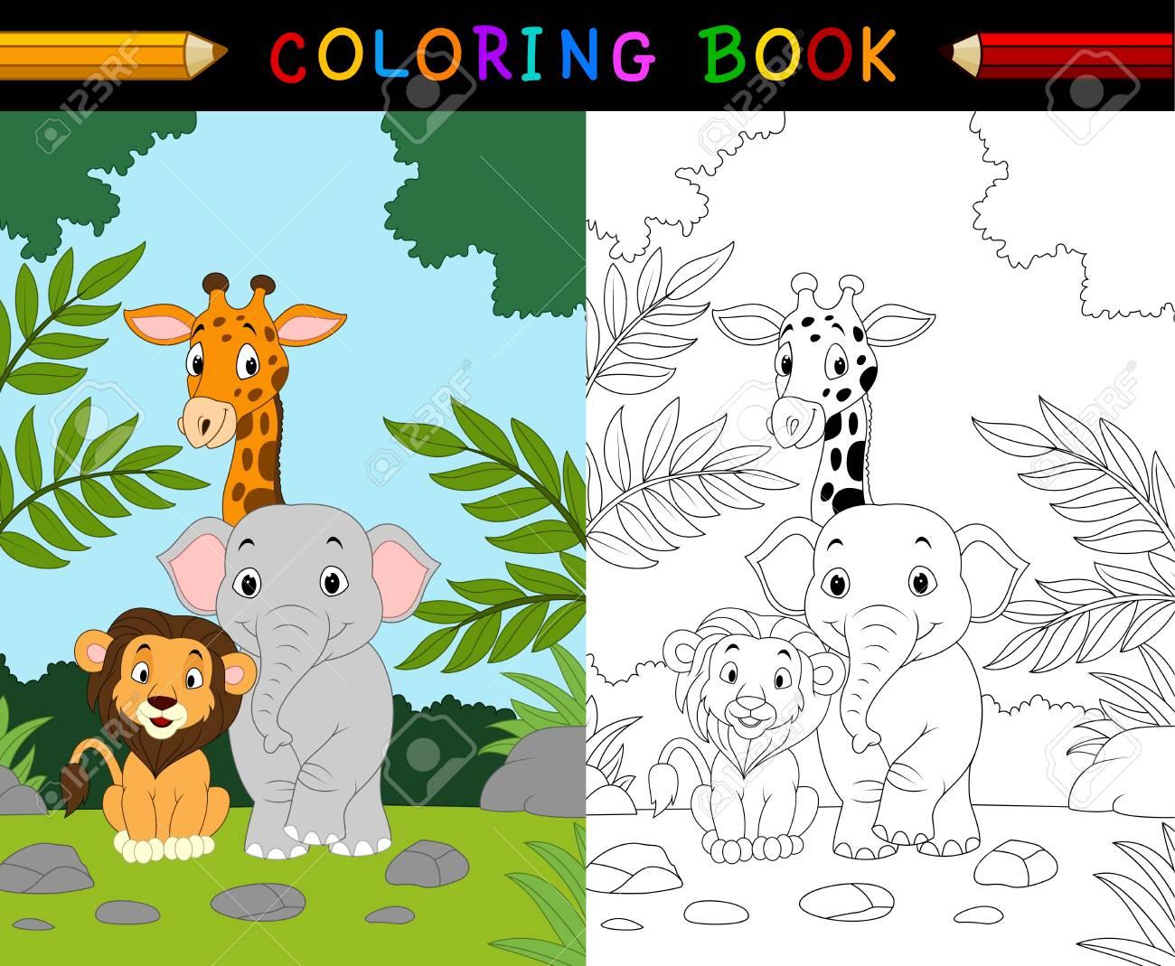 Ilustración De Dibujos Animados Safari De Animales Para Colorear