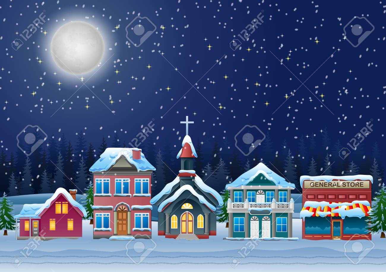 Fabulous snow covered town in the Christmas night. - 99436692