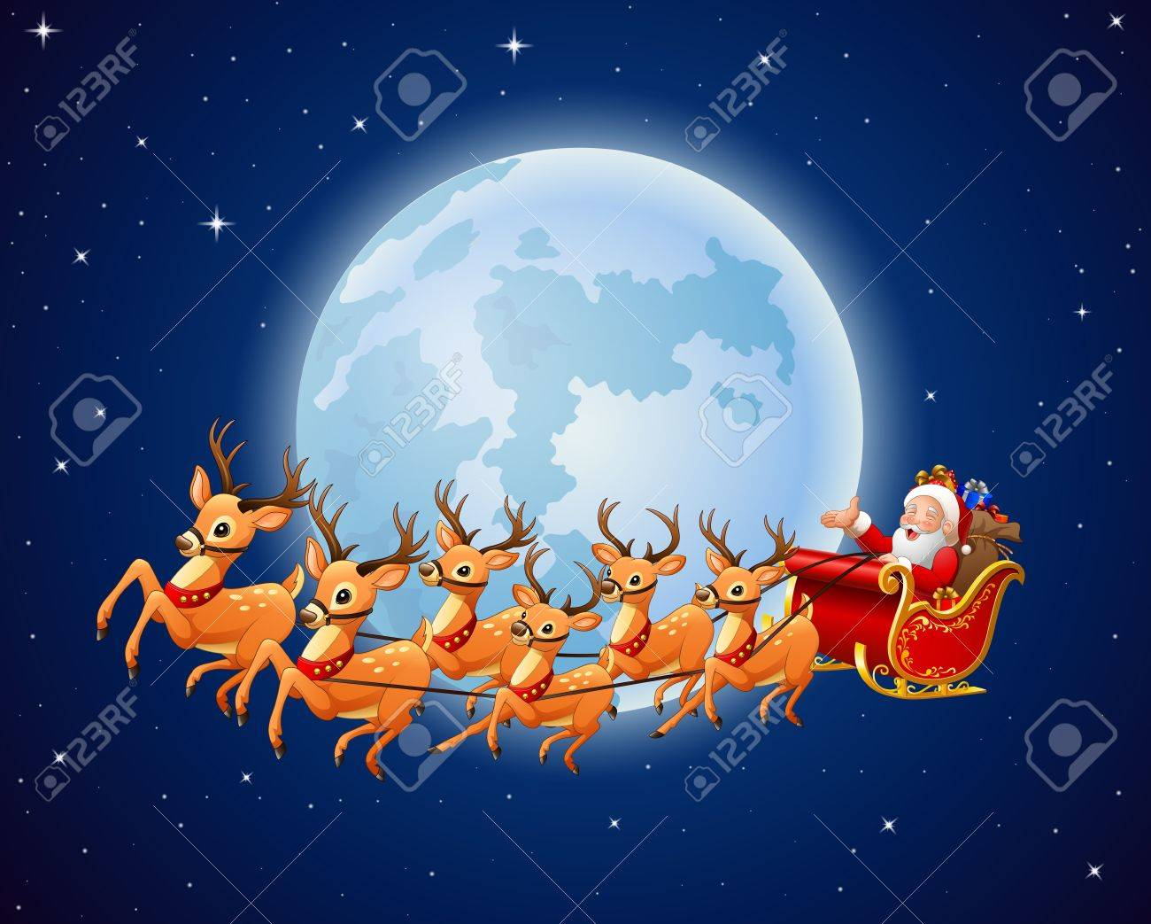 illustration of santa claus rides reindeer sleigh against a full