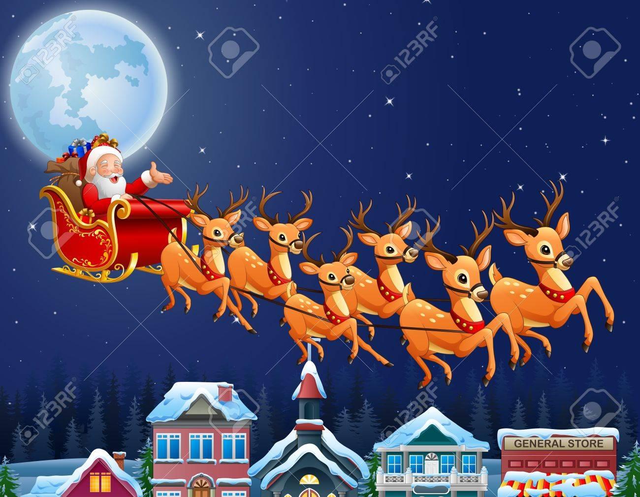 Immagini Di Babbo Natale Con La Slitta E Le Renne.Illustrazione Di Babbo Natale In Sella Alla Sua Slitta Trainata Da Renne Volare Sopra Citta