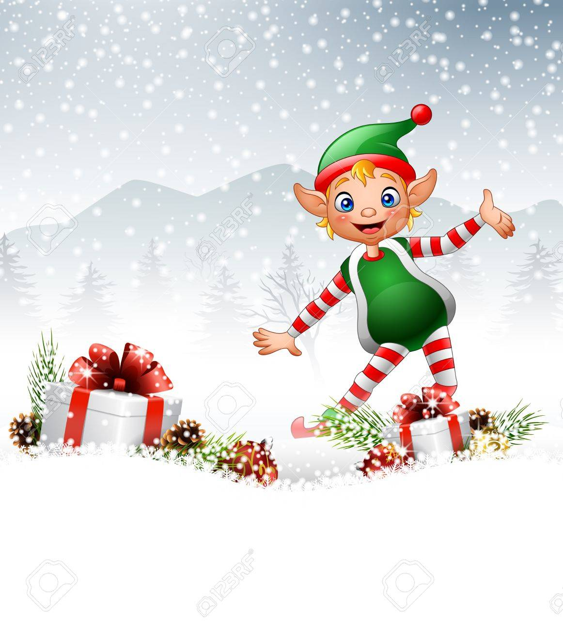 Illustration Of Christmas Background With Happy Elf Royalty Free ...