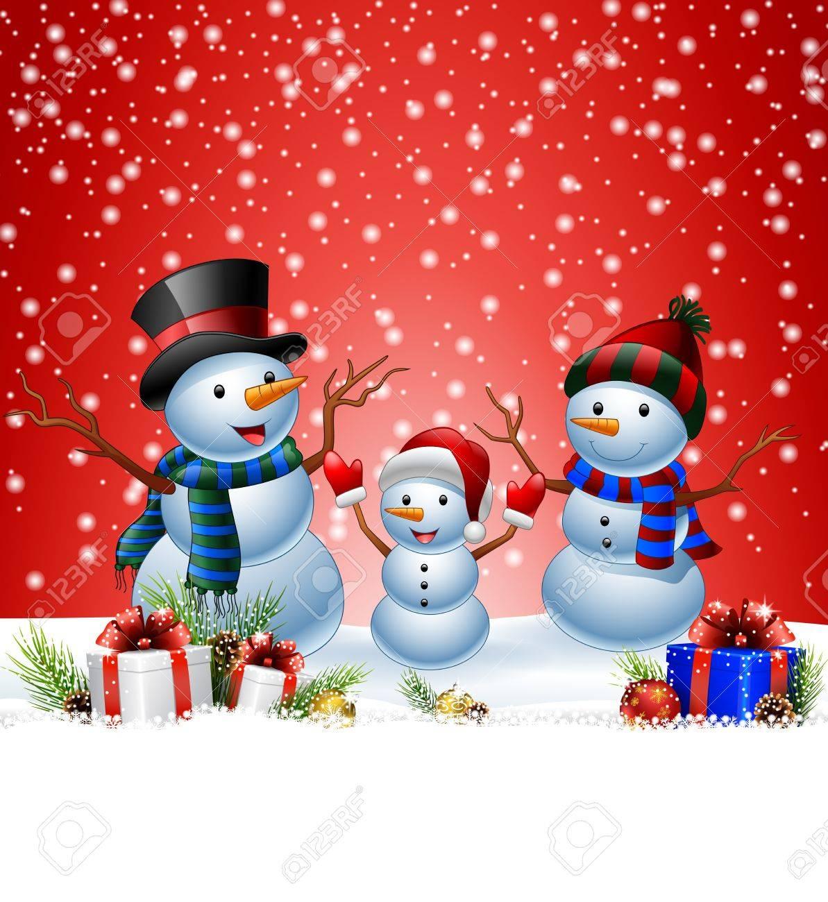 Immagini Di Natale Pupazzi Di Neve.Illustrazione Di Set Di Pupazzo Di Neve Del Fumetto Con Priorita Bassa Di Natale